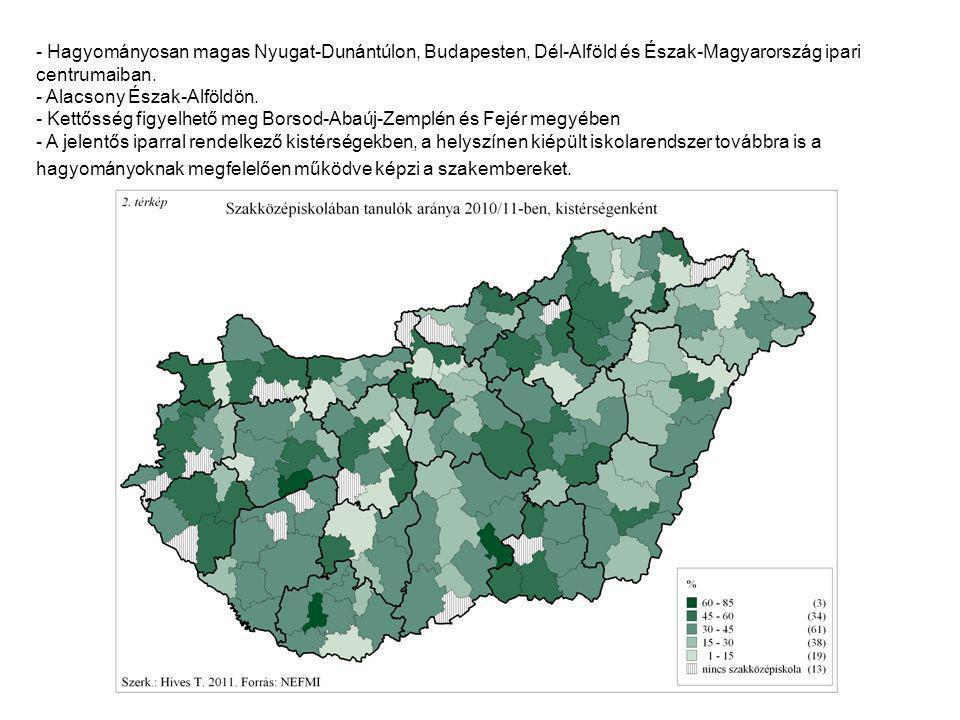 - Hagyományosan magas Nyugat-Dunántúlon, Budapesten, Dél-Alföld és Észak-Magyarország ipari centrumaiban.
