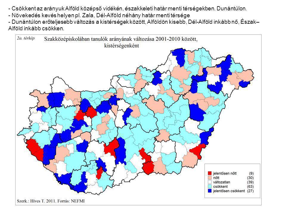 - Jelentős területi különbséget - Határ menti keleti, északkeleti és dél-dunántúli kistérségben magas az érettségit nem nyújtó szakiskolások aránya.