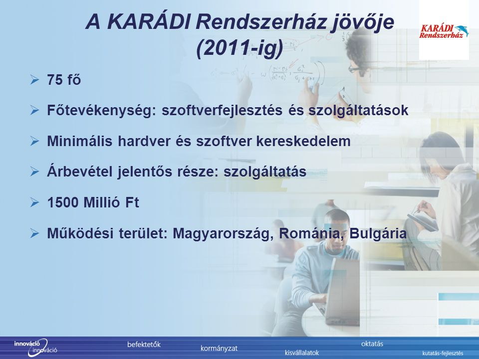 A KARÁDI Rendszerház jövője (2011-ig)  75 fő  Főtevékenység: szoftverfejlesztés és szolgáltatások  Minimális hardver és szoftver kereskedelem  Árbevétel jelentős része: szolgáltatás  1500 Millió Ft  Működési terület: Magyarország, Románia, Bulgária