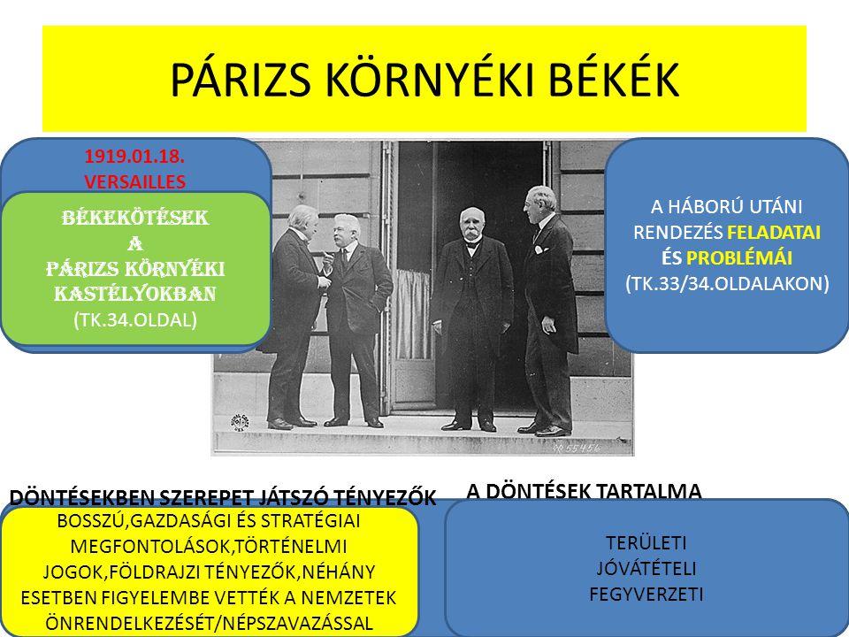 PÁRIZS KÖRNYÉKI BÉKÉK 1919.01.18. VERSAILLES BÉKEKÖTÉSEK A PÁRIZS KÖRNYÉKI KASTÉLYOKBAN (TK.34.OLDAL) A HÁBORÚ UTÁNI RENDEZÉS FELADATAI ÉS PROBLÉMÁI (