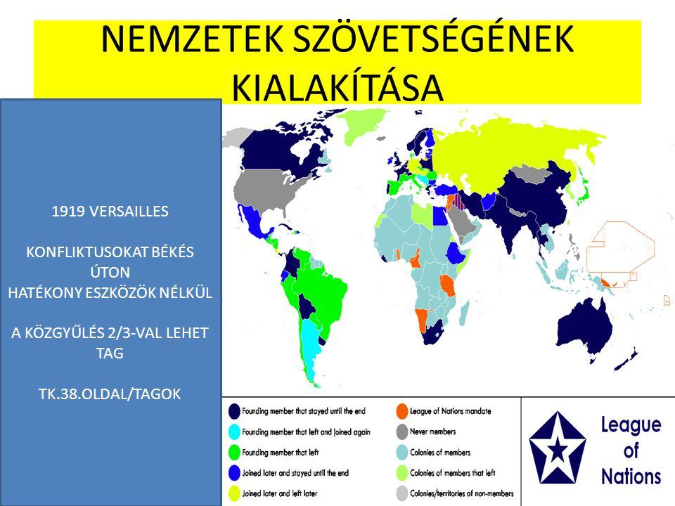 NEMZETEK SZÖVETSÉGÉNEK KIALAKÍTÁSA 1919 VERSAILLES KONFLIKTUSOKAT BÉKÉS ÚTON HATÉKONY ESZKÖZÖK NÉLKÜL A KÖZGYŰLÉS 2/3-VAL LEHET TAG TK.38.OLDAL/TAGOK