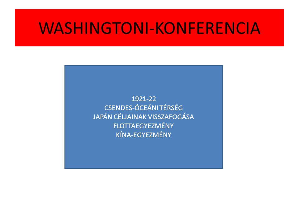 WASHINGTONI-KONFERENCIA 1921-22 CSENDES-ÓCEÁNI TÉRSÉG JAPÁN CÉLJAINAK VISSZAFOGÁSA FLOTTAEGYEZMÉNY KÍNA-EGYEZMÉNY