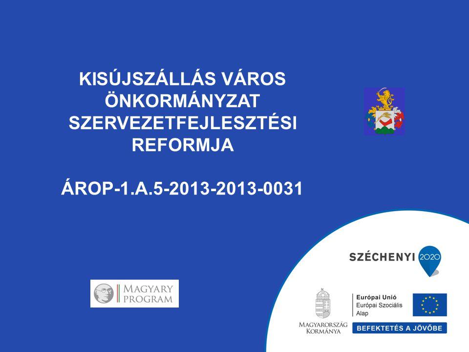 KISÚJSZÁLLÁS VÁROS ÖNKORMÁNYZAT SZERVEZETFEJLESZTÉSI REFORMJA ÁROP-1.A.5-2013-2013-0031 AZ ÁTSZERVEZÉS LEGFONTOSABB ELEMEI: A korábban szennyvízcsatornázás elősegítésére létrejött két társulást megszüntettük és a kintlévőségek kezelését átvette a hivatal adócsoportja.