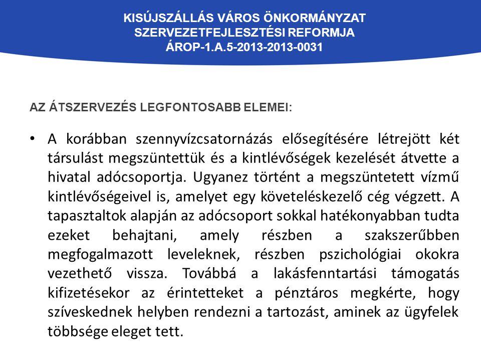 KISÚJSZÁLLÁS VÁROS ÖNKORMÁNYZAT SZERVEZETFEJLESZTÉSI REFORMJA ÁROP-1.A.5-2013-2013-0031 AZ ÁTSZERVEZÉS LEGFONTOSABB ELEMEI: A korábban szennyvízcsator