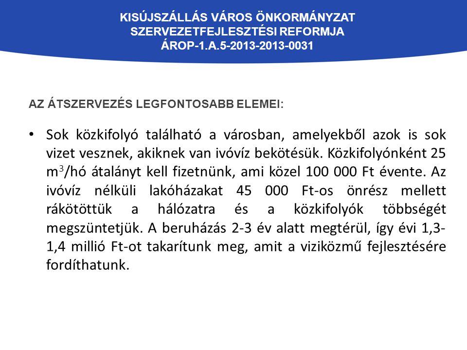 KISÚJSZÁLLÁS VÁROS ÖNKORMÁNYZAT SZERVEZETFEJLESZTÉSI REFORMJA ÁROP-1.A.5-2013-2013-0031 AZ ÁTSZERVEZÉS LEGFONTOSABB ELEMEI: Sok közkifolyó található a