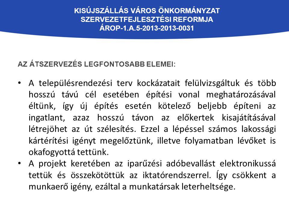 KISÚJSZÁLLÁS VÁROS ÖNKORMÁNYZAT SZERVEZETFEJLESZTÉSI REFORMJA ÁROP-1.A.5-2013-2013-0031 AZ ÁTSZERVEZÉS LEGFONTOSABB ELEMEI: A településrendezési terv