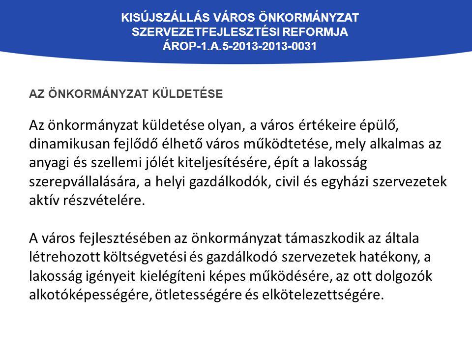 KISÚJSZÁLLÁS VÁROS ÖNKORMÁNYZAT SZERVEZETFEJLESZTÉSI REFORMJA ÁROP-1.A.5-2013-2013-0031 AZ ÖNKORMÁNYZAT KÜLDETÉSE Az önkormányzat küldetése olyan, a v