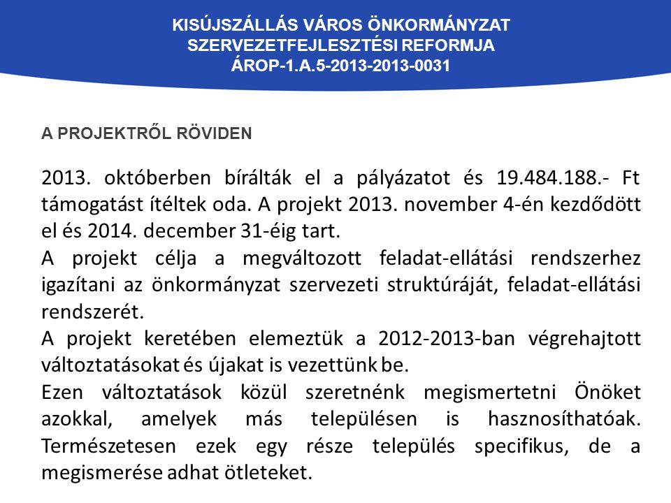 KISÚJSZÁLLÁS VÁROS ÖNKORMÁNYZAT SZERVEZETFEJLESZTÉSI REFORMJA ÁROP-1.A.5-2013-2013-0031 A PROJEKTRŐL RÖVIDEN 2013. októberben bírálták el a pályázatot