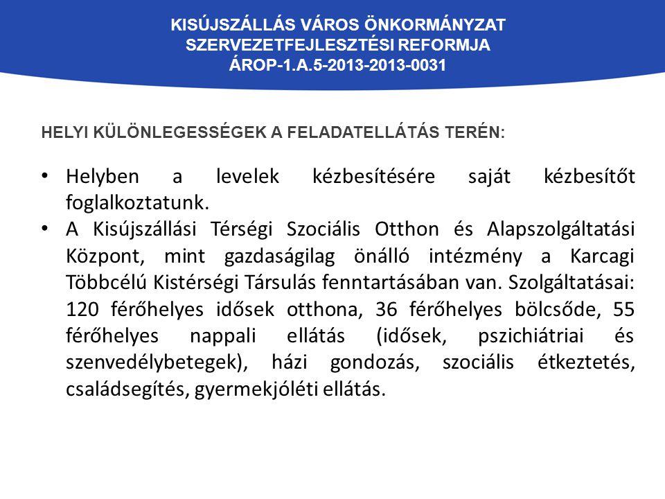 KISÚJSZÁLLÁS VÁROS ÖNKORMÁNYZAT SZERVEZETFEJLESZTÉSI REFORMJA ÁROP-1.A.5-2013-2013-0031 HELYI KÜLÖNLEGESSÉGEK A FELADATELLÁTÁS TERÉN: Helyben a levele