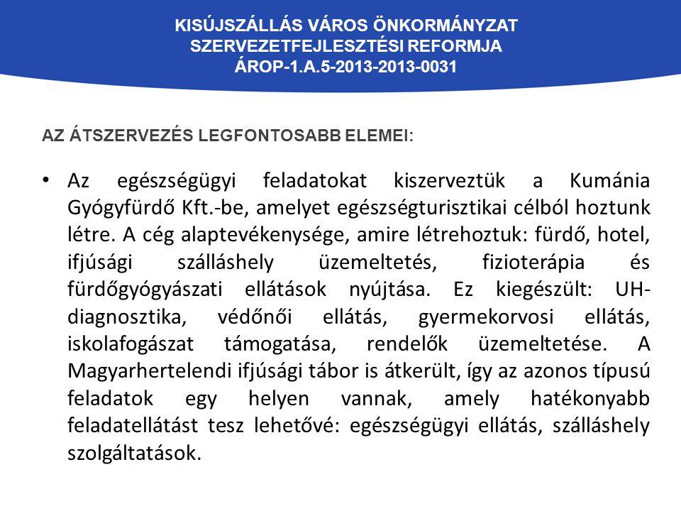 KISÚJSZÁLLÁS VÁROS ÖNKORMÁNYZAT SZERVEZETFEJLESZTÉSI REFORMJA ÁROP-1.A.5-2013-2013-0031 AZ ÁTSZERVEZÉS LEGFONTOSABB ELEMEI: Mindenkit érintett az ivóvíz és szennyvíz szolgáltatás átszervezése.
