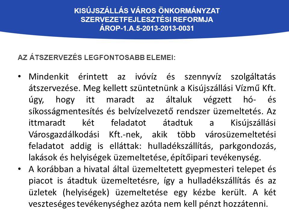 KISÚJSZÁLLÁS VÁROS ÖNKORMÁNYZAT SZERVEZETFEJLESZTÉSI REFORMJA ÁROP-1.A.5-2013-2013-0031 AZ ÁTSZERVEZÉS LEGFONTOSABB ELEMEI: Az útfelügyelői feladatokat korábban külső megbízott látta el, ezt a hivatal átvette.
