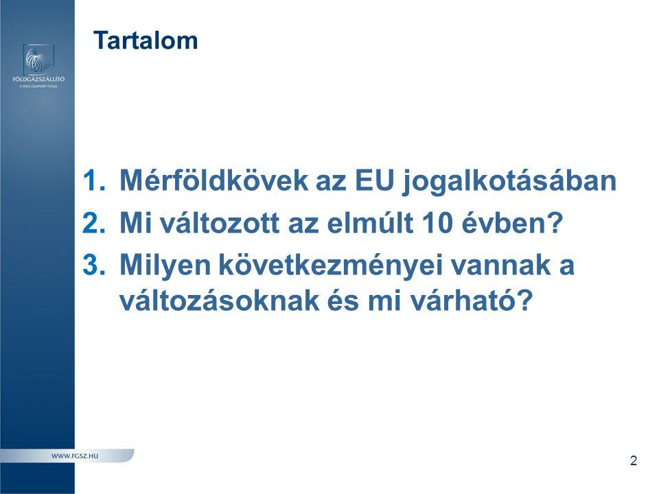 Tartalom 1.Mérföldkövek az EU jogalkotásában 2.Mi változott az elmúlt 10 évben? 3.Milyen következményei vannak a változásoknak és mi várható? 2