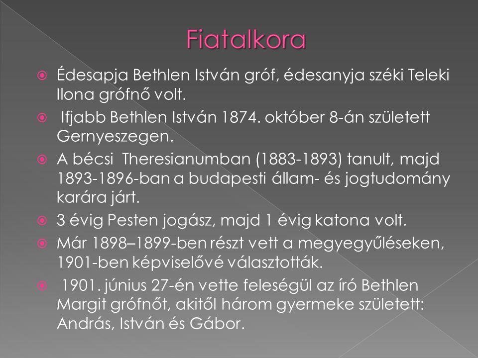  Édesapja Bethlen István gróf, édesanyja széki Teleki Ilona grófnő volt.  Ifjabb Bethlen István 1874. október 8-án született Gernyeszegen.  A bécsi