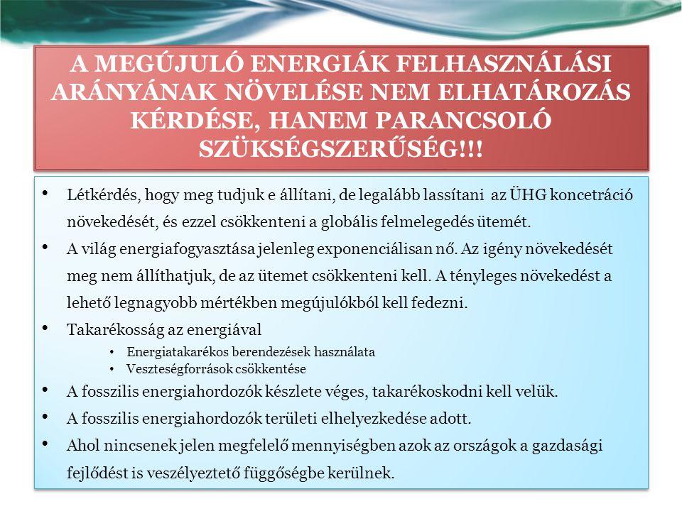 A MEGÚJULÓ ENERGIÁK FELHASZNÁLÁSI ARÁNYÁNAK NÖVELÉSE NEM ELHATÁROZÁS KÉRDÉSE, HANEM PARANCSOLÓ SZÜKSÉGSZERŰSÉG!!.