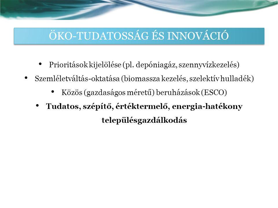 ÖKO-TUDATOSSÁG ÉS INNOVÁCIÓ Prioritások kijelölése (pl.