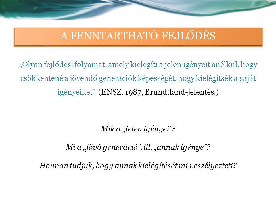 """A FENNTARTHATÓ FEJLŐDÉS """"Olyan fejlődési folyamat, amely kielégíti a jelen igényeit anélkül, hogy csökkentené a jövendő generációk képességét, hogy kielégítsék a saját igényeiket (ENSZ, 1987, Brundtland-jelentés.) Mik a """"jelen igényei ."""