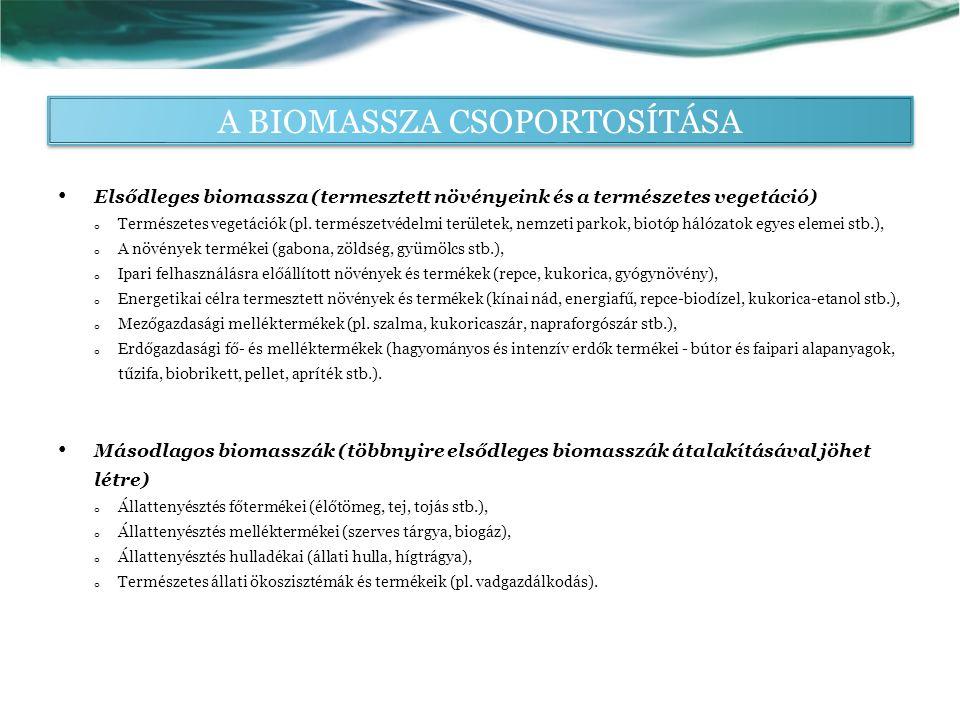 A BIOMASSZA CSOPORTOSÍTÁSA Elsődleges biomassza (termesztett növényeink és a természetes vegetáció) o Természetes vegetációk (pl.