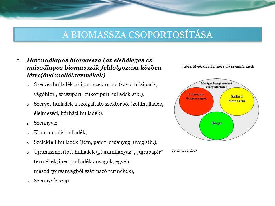 """Harmadlagos biomassza (az elsődleges és másodlagos biomasszák feldolgozása közben létrejövő melléktermékek) o Szerves hulladék az ipari szektorból (savó, húsipari-, vágóhídi-, szeszipari, cukoripari hulladék stb.), o Szerves hulladék a szolgáltató szektorból (zöldhulladék, élelmezési, kórházi hulladék), o Szennyvíz, o Kommunális hulladék, o Szelektált hulladék (fém, papír, műanyag, üveg stb.), o Újrahasznosított hulladék (""""újraműanyag , """"újrapapír termékek, inert hulladék anyagok, egyéb másodnyersanyagból származó termékek), o Szennyvíziszap 4."""