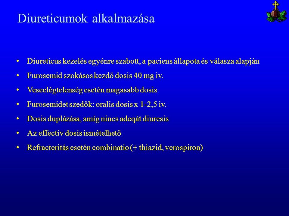 Diureticumok alkalmazása Diureticus kezelés egyénre szabott, a paciens állapota és válasza alapján Furosemid szokásos kezdő dosis 40 mg iv. Veseelégte