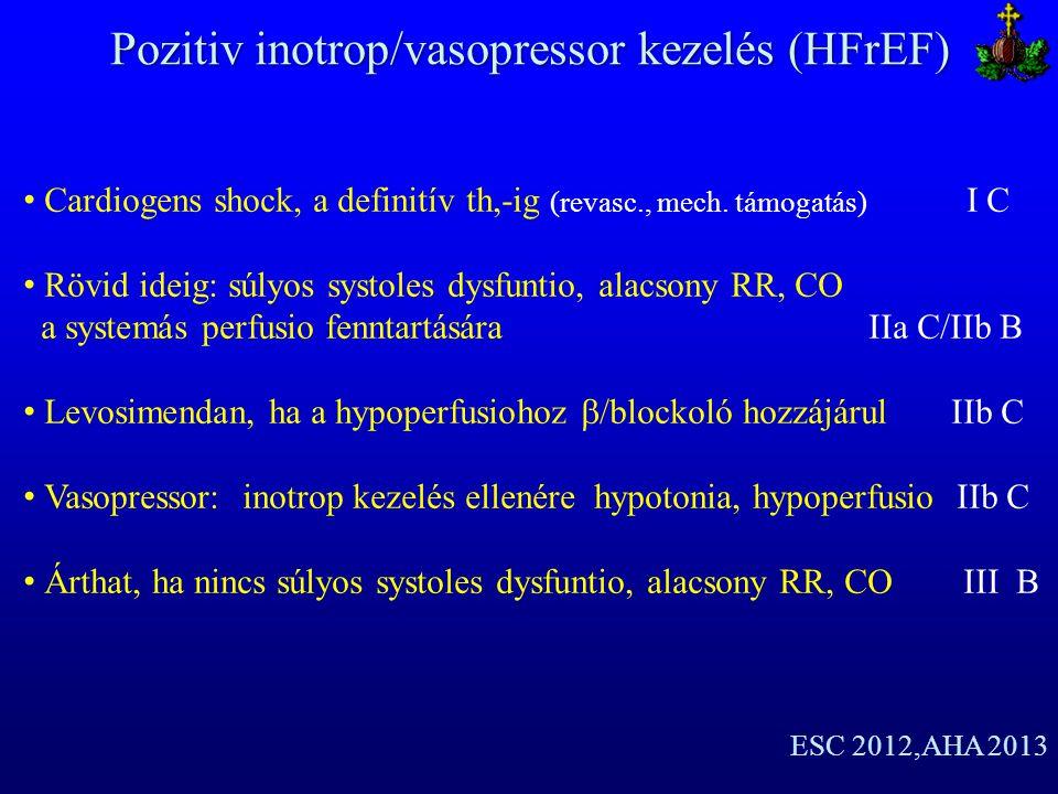 Pozitiv inotrop/vasopressor kezelés (HFrEF) Cardiogens shock, a definitív th,-ig (revasc., mech. támogatás) I C Rövid ideig: súlyos systoles dysfuntio