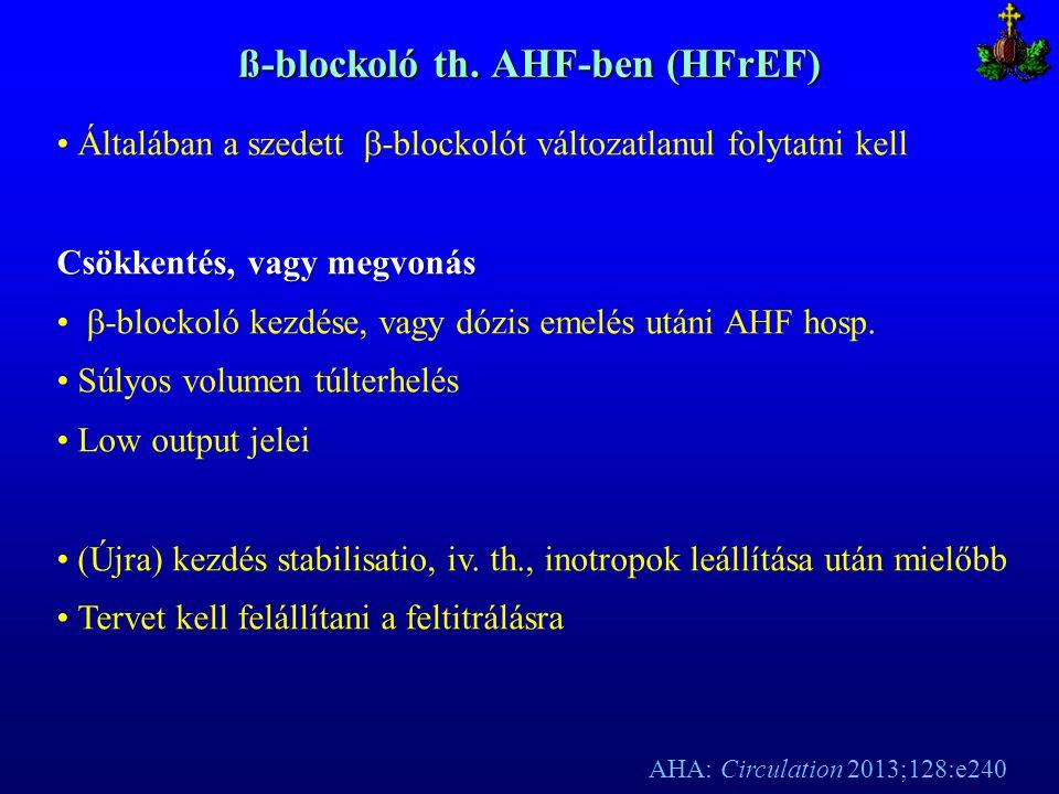 ß-blockoló th. AHF-ben (HFrEF) Általában a szedett  -blockolót változatlanul folytatni kell Csökkentés, vagy megvonás  -blockoló kezdése, vagy dózis