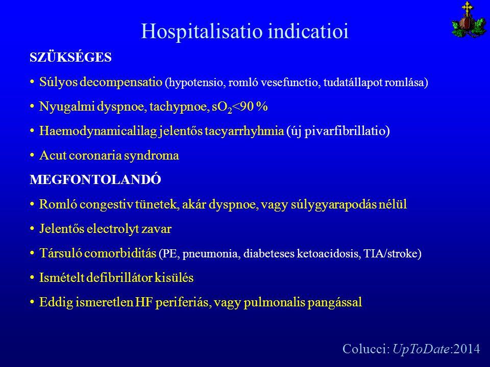 Hospitalisatio indicatioi SZÜKSÉGES Súlyos decompensatio (hypotensio, romló vesefunctio, tudatállapot romlása) Nyugalmi dyspnoe, tachypnoe, sO 2 <90 %