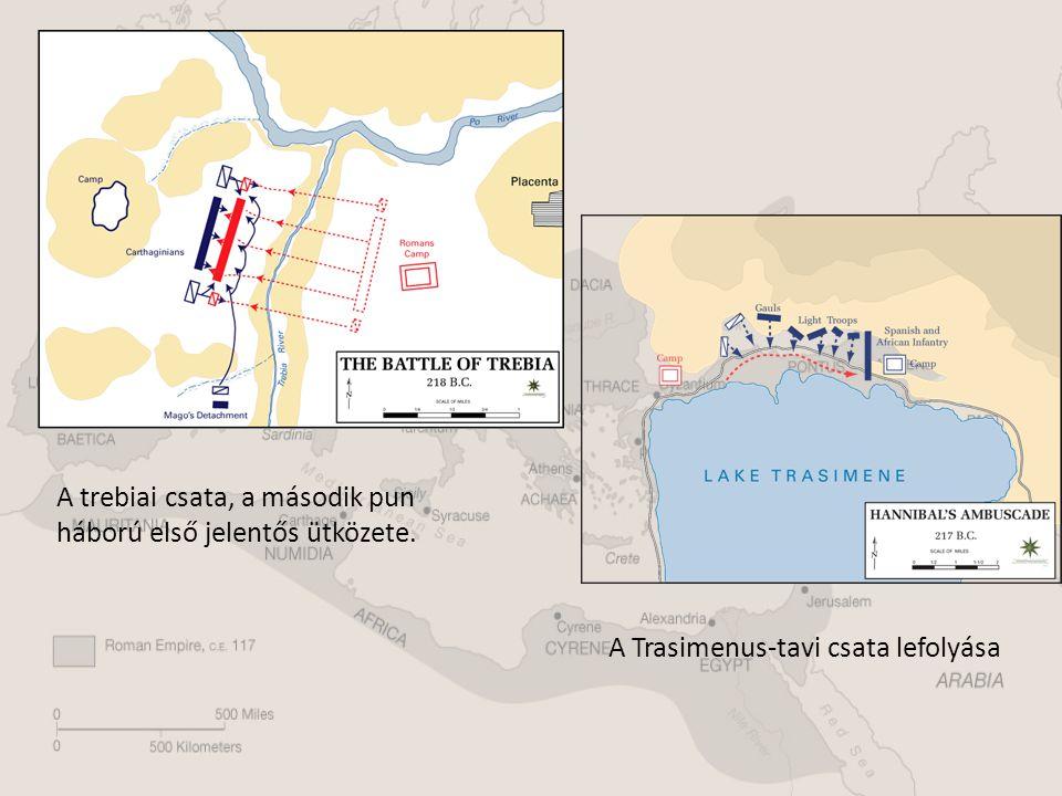 A trebiai csata, a második pun háború első jelentős ütközete. A Trasimenus-tavi csata lefolyása