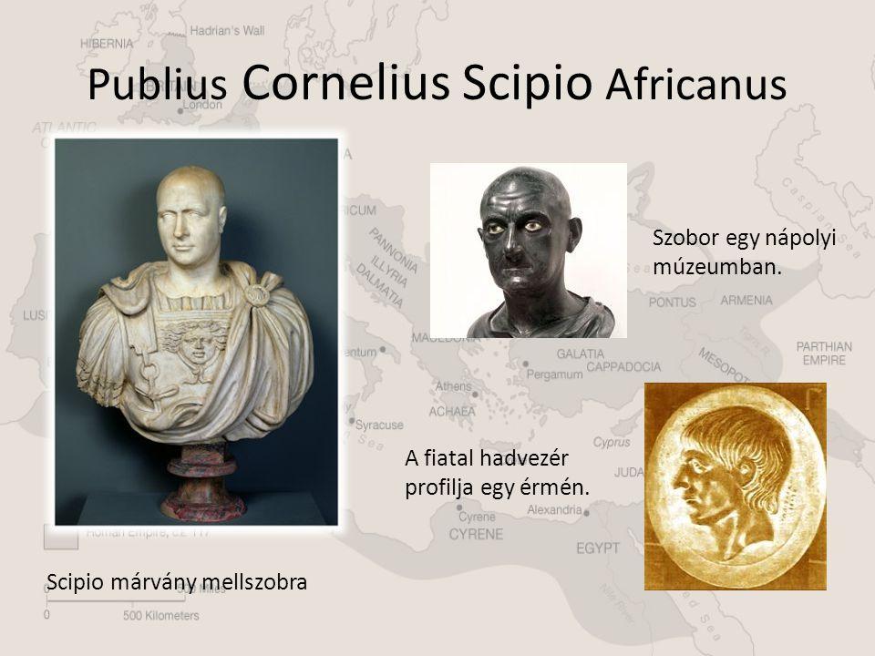 Publius Cornelius Scipio Africanus Scipio márvány mellszobra A fiatal hadvezér profilja egy érmén. Szobor egy nápolyi múzeumban.