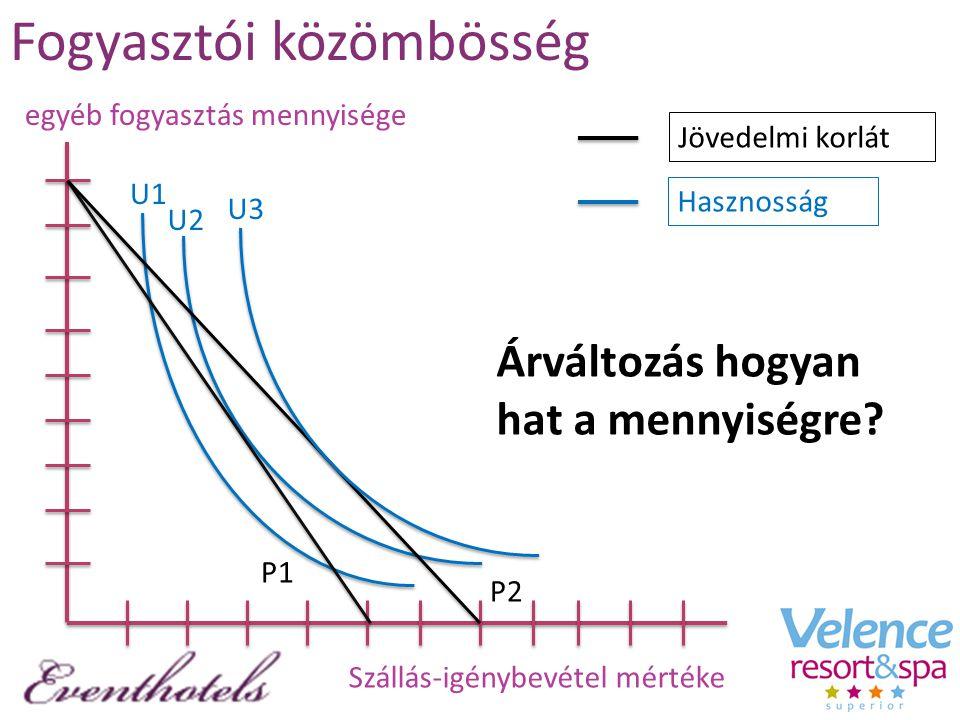Fogyasztói közömbösség Szállás-igénybevétel mértéke egyéb fogyasztás mennyisége U1 U2 U3 P1 P2 Jövedelmi korlát Hasznosság Árváltozás hogyan hat a men