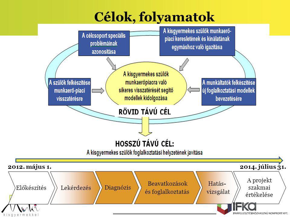 Célok, folyamatok 2012. május 1. 2014. július 31. Diagnózis Beavatkozások és foglalkoztatás Hatás- vizsgálat A projekt szakmai értékelése Előkészítés