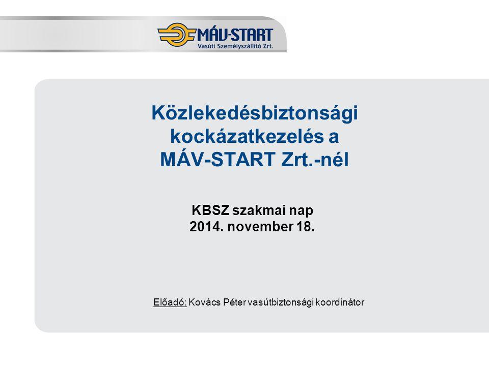 Előadó: Kozák Tamás Közlekedésbiztonsági kockázatkezelés a MÁV-START Zrt.-nél KBSZ szakmai nap 2014. november 18. Előadó: Kovács Péter vasútbiztonsági
