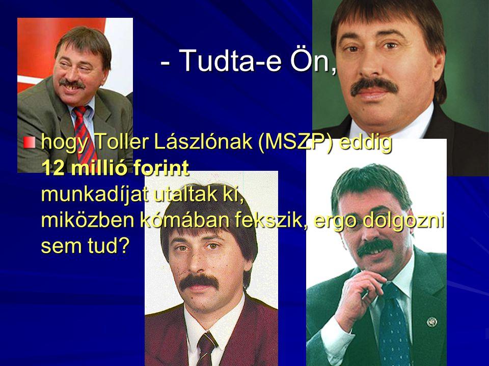 - Tudta-e Ön, hogy Toller Lászlónak (MSZP) eddig 12 millió forint munkadíjat utaltak ki, miközben kómában fekszik, ergo dolgozni sem tud?