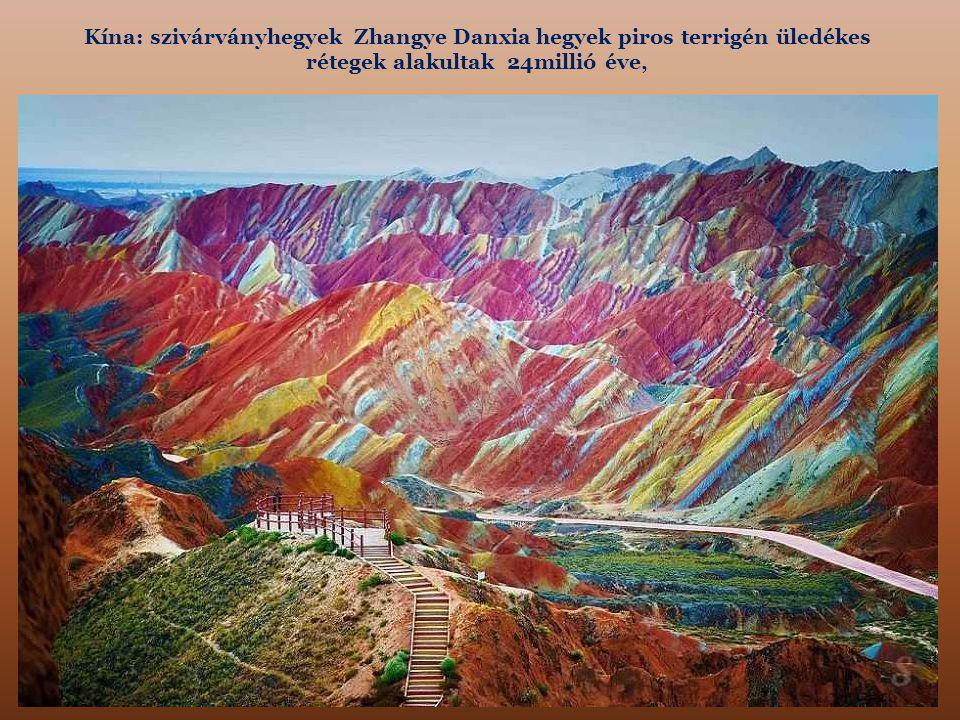 Kína: szivárványhegyek Zhangye Danxia hegyek piros terrigén üledékes rétegek alakultak 24millió éve,