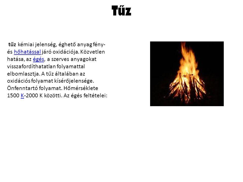 Tűz tűz kémiai jelenség, éghető anyag fény- és hőhatással járó oxidációja.
