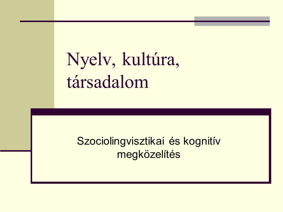 Nyelv, kultúra, társadalom Szociolingvisztikai és kognitív megközelítés