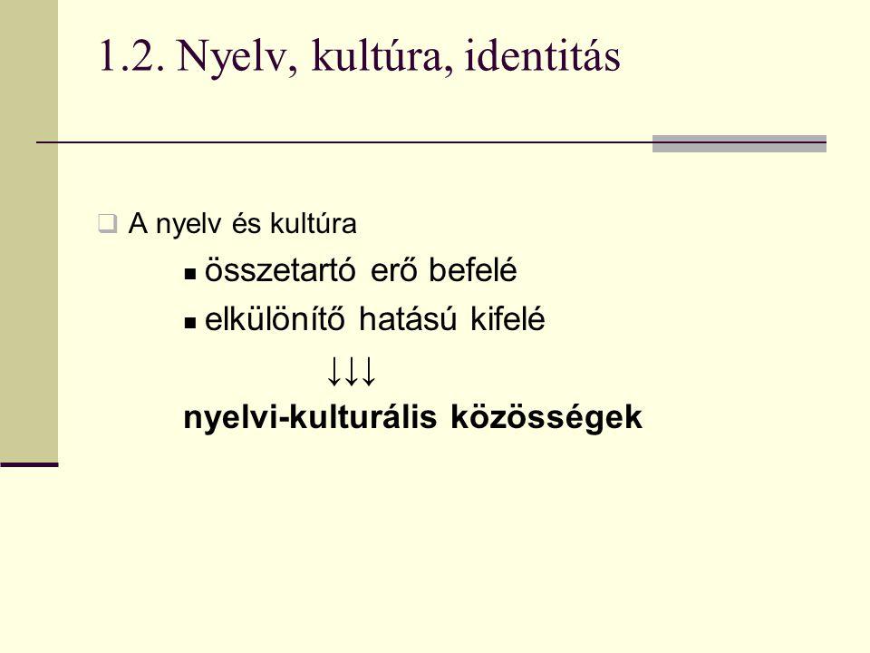 1.2. Nyelv, kultúra, identitás  A nyelv és kultúra összetartó erő befelé elkülönítő hatású kifelé ↓↓↓ nyelvi-kulturális közösségek