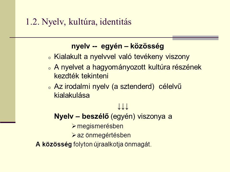 1.2. Nyelv, kultúra, identitás nyelv -- egyén – közösség o Kialakult a nyelvvel való tevékeny viszony o A nyelvet a hagyományozott kultúra részének ke