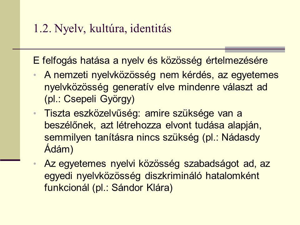 1.2. Nyelv, kultúra, identitás E felfogás hatása a nyelv és közösség értelmezésére A nemzeti nyelvközösség nem kérdés, az egyetemes nyelvközösség gene
