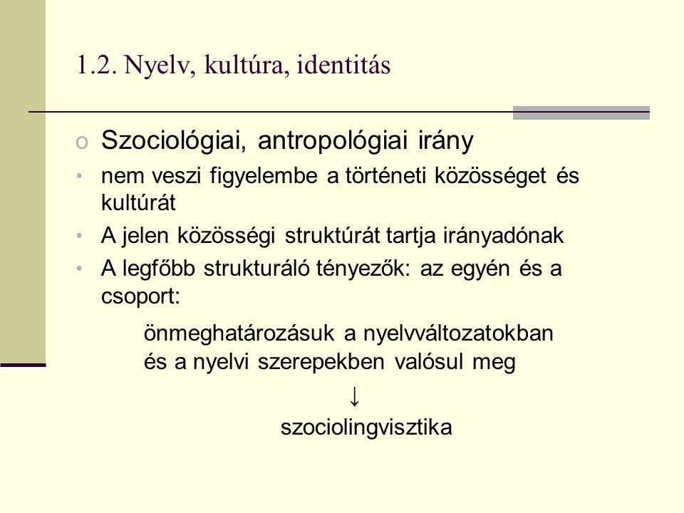 1.2. Nyelv, kultúra, identitás o Szociológiai, antropológiai irány nem veszi figyelembe a történeti közösséget és kultúrát A jelen közösségi struktúrá