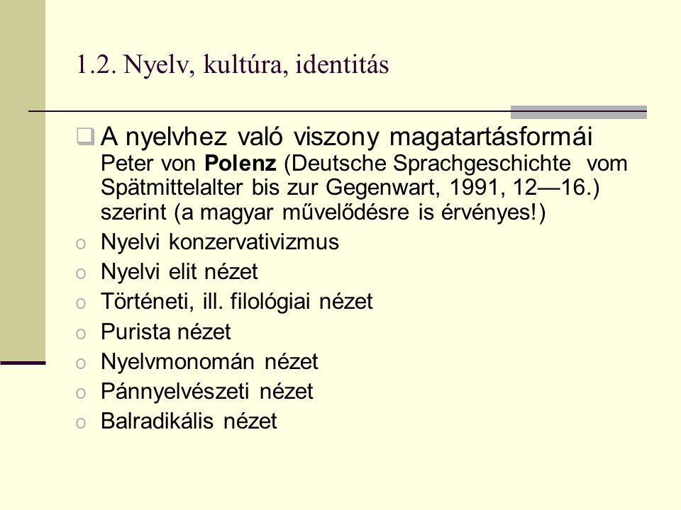 1.2. Nyelv, kultúra, identitás  A nyelvhez való viszony magatartásformái Peter von Polenz (Deutsche Sprachgeschichte vom Spätmittelalter bis zur Gege
