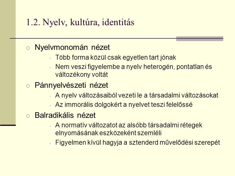 1.2. Nyelv, kultúra, identitás o Nyelvmonomán nézet Több forma közül csak egyetlen tart jónak Nem veszi figyelembe a nyelv heterogén, pontatlan és vál