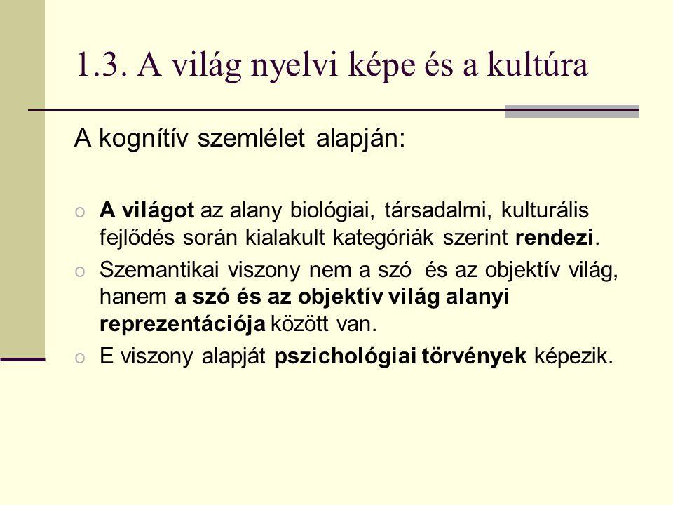 1.3. A világ nyelvi képe és a kultúra A kognítív szemlélet alapján: o A világot az alany biológiai, társadalmi, kulturális fejlődés során kialakult ka