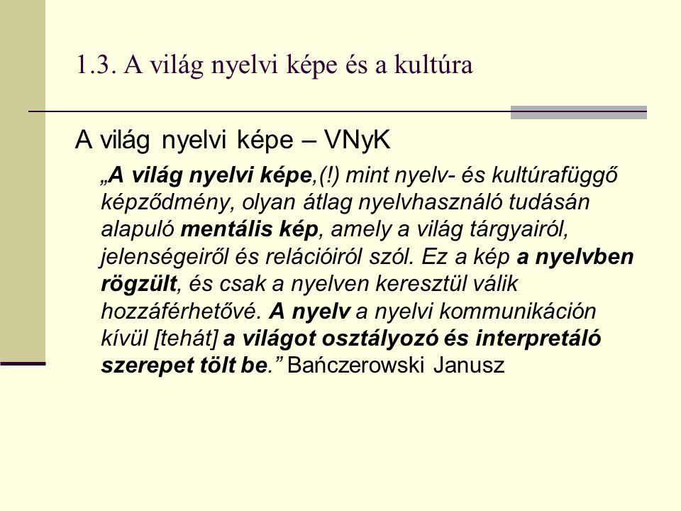 """1.3. A világ nyelvi képe és a kultúra A világ nyelvi képe – VNyK """"A világ nyelvi képe,(!) mint nyelv- és kultúrafüggő képződmény, olyan átlag nyelvhas"""