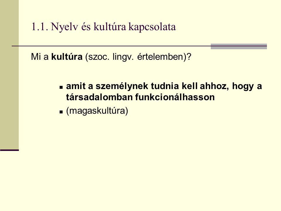 1.1. Nyelv és kultúra kapcsolata Mi a kultúra (szoc. lingv. értelemben)? amit a személynek tudnia kell ahhoz, hogy a társadalomban funkcionálhasson (m