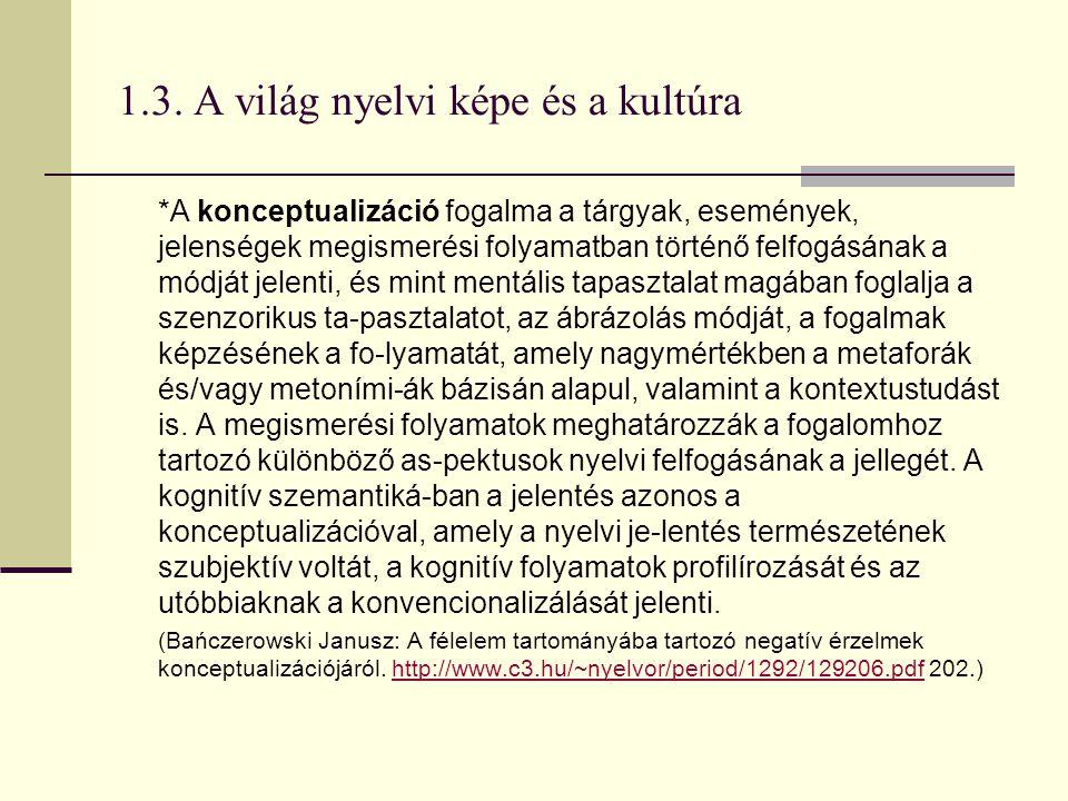 1.3. A világ nyelvi képe és a kultúra *A konceptualizáció fogalma a tárgyak, események, jelenségek megismerési folyamatban történő felfogásának a módj