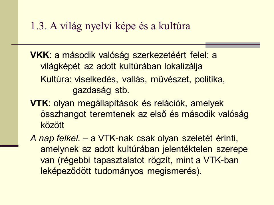 1.3. A világ nyelvi képe és a kultúra VKK: a második valóság szerkezetéért felel: a világképét az adott kultúrában lokalizálja Kultúra: viselkedés, va