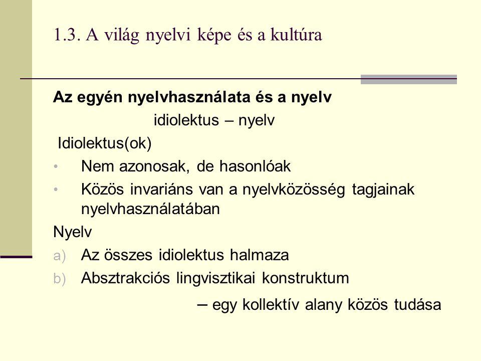 1.3. A világ nyelvi képe és a kultúra Az egyén nyelvhasználata és a nyelv idiolektus – nyelv Idiolektus(ok) Nem azonosak, de hasonlóak Közös invariáns