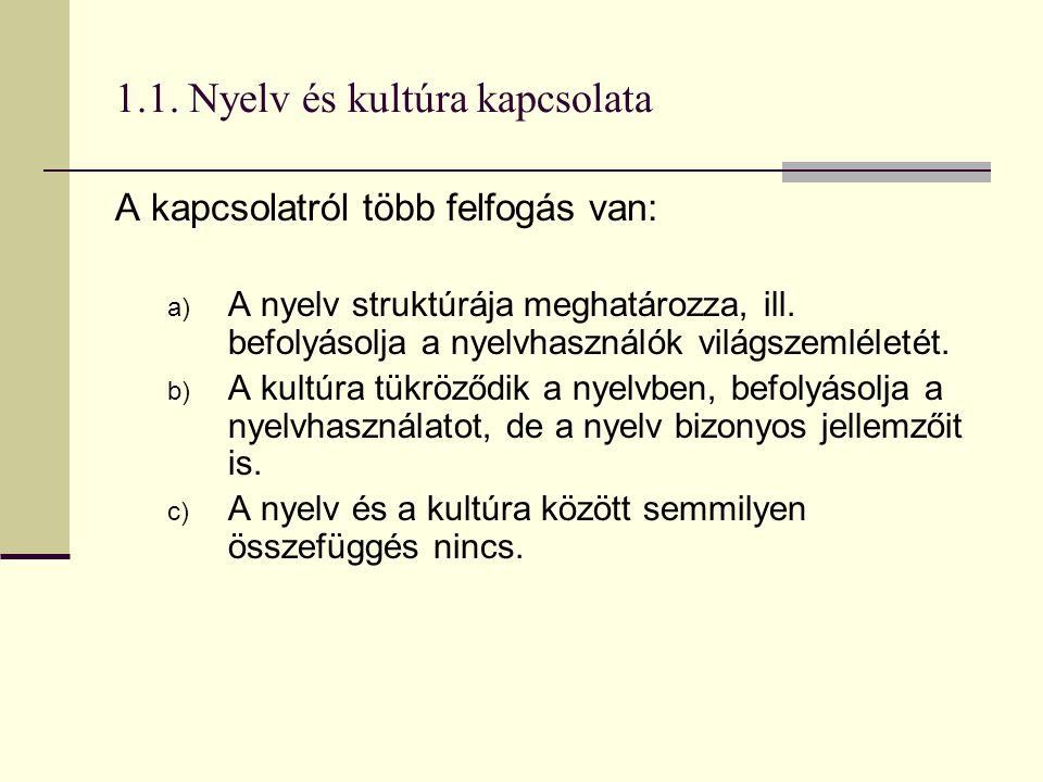 1.1. Nyelv és kultúra kapcsolata A kapcsolatról több felfogás van: a) A nyelv struktúrája meghatározza, ill. befolyásolja a nyelvhasználók világszemlé