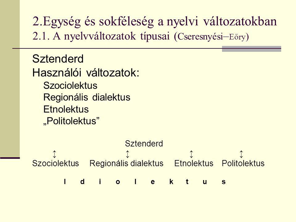 2.Egység és sokféleség a nyelvi változatokban 2.1. A nyelvváltozatok típusai ( Cseresnyési – Eőry ) Sztenderd Használói változatok: Szociolektus Regio
