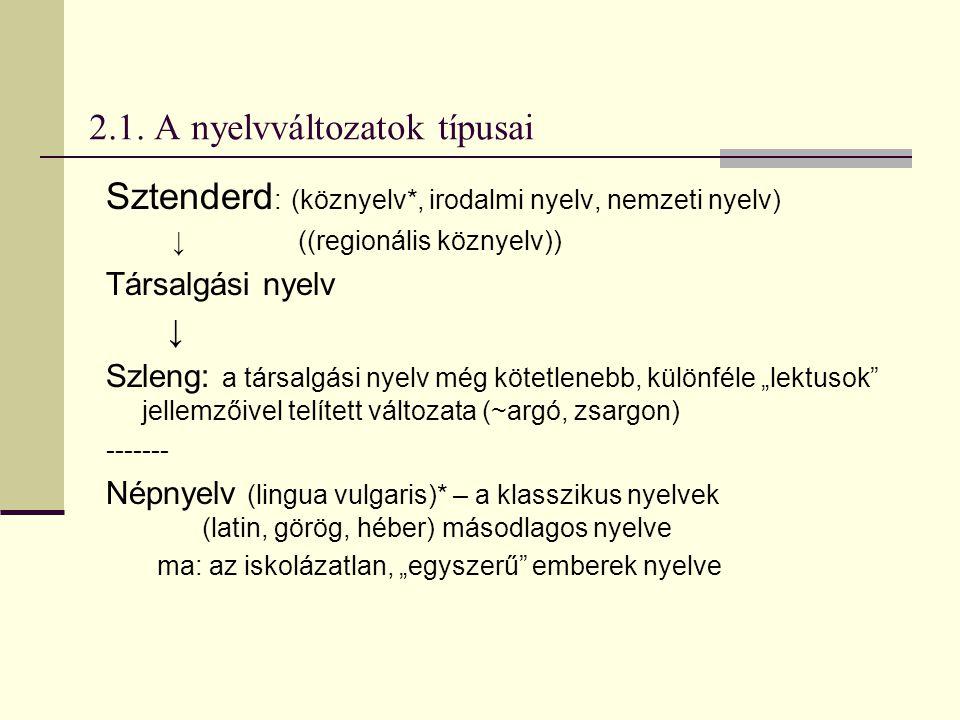 2.1. A nyelvváltozatok típusai Sztenderd : (köznyelv*, irodalmi nyelv, nemzeti nyelv) ↓((regionális köznyelv)) Társalgási nyelv ↓ Szleng: a társalgási